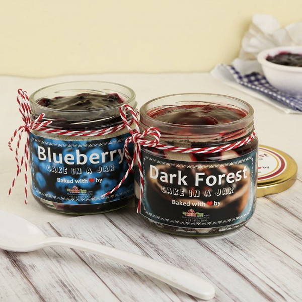 Combo of Blueberry and Black Forest Jar Cake