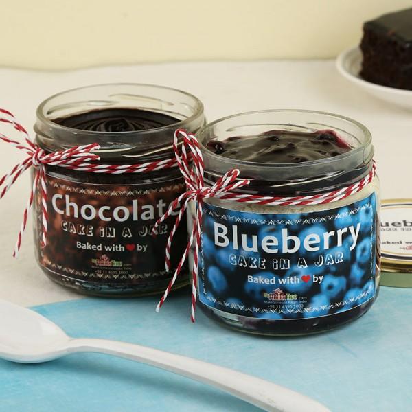Chocolate Blueberry Jar Cakes