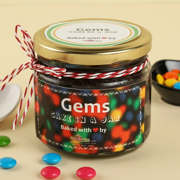 Gems Cake in a Jar. Front view!