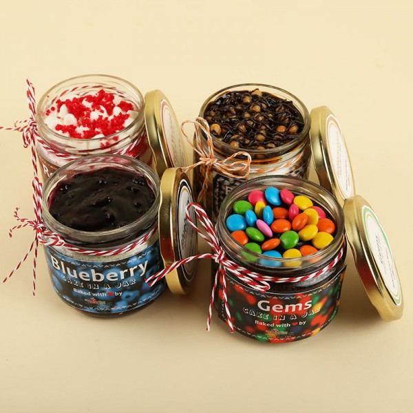 Chocolate,Butterscotch,Blueberry and Red Velvet Jar Cakes