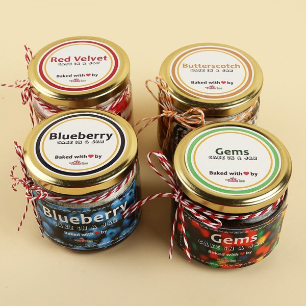 Set of 4 Chocolate,Butterscotch,Blueberry and Red Velvet Jar Cakes