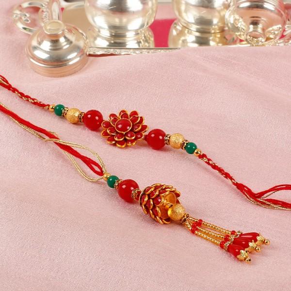 Red Floral Lumba Rakhi Set