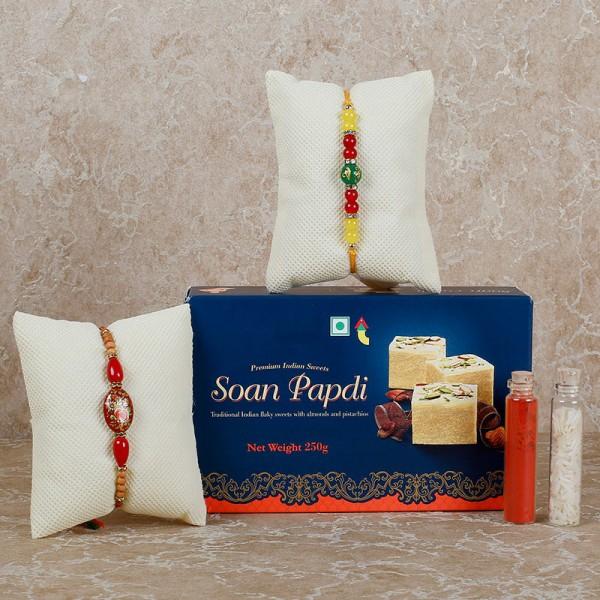 Soan Papdi With 2 Rakhis