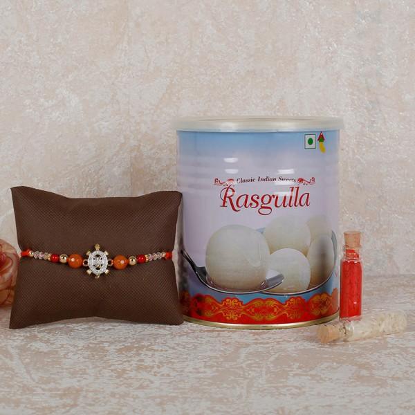 Rasgulla And Designer Rakhi Combo