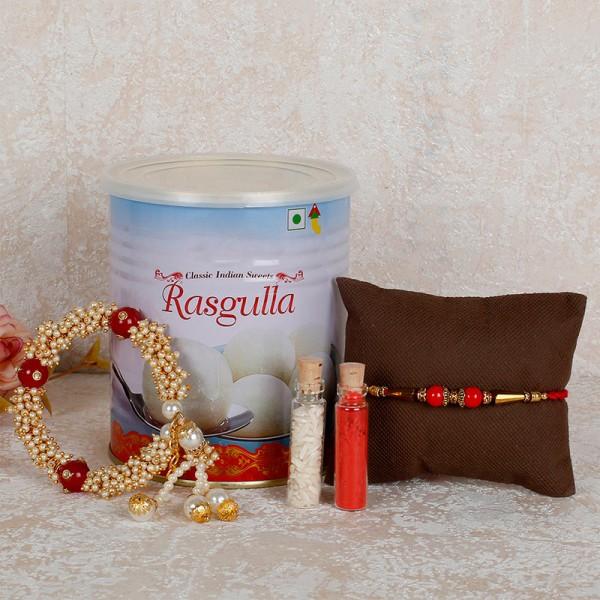 Lumba Rakhi Set With Rasgulla