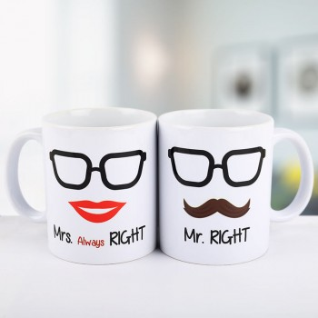 Mr and Mrs Right Printed Couple White Mug