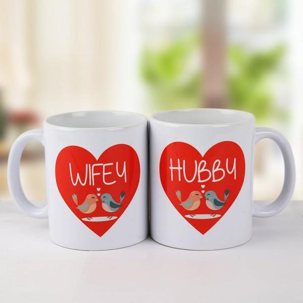 Printed White Mugs for Husband Wife