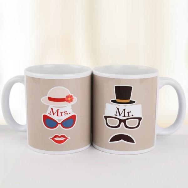 Printed Mr and Mrs Coffee Mug for Couple