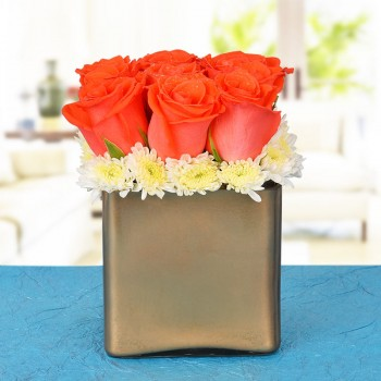 9 Orange Roses In A Special Golden Vase
