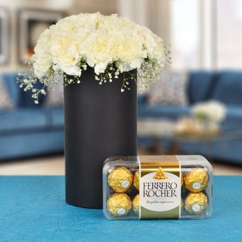 20 White Carnations In A Black Cylindrical Vase with 16 pcs Ferrero Rocher