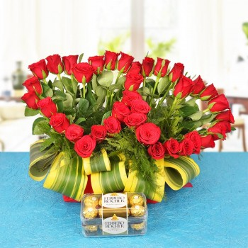 A Basket Arrangement of 40 Red Roses with 16 pcs Ferrero Rocher