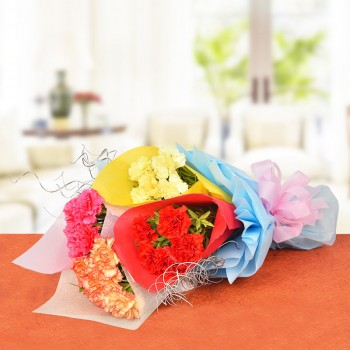 20 Carnations (Red,Yellow,Pink,Orange) Bouquet