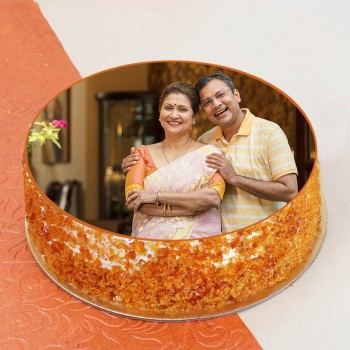 One Kg Round Shape Photo Butterscotch Cake for Parents