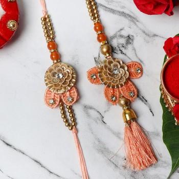 Floral Bhaiya Bhabhi Rakhi Set