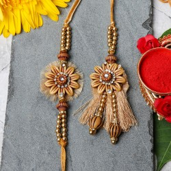 Golden Flower Bhaiya Bhabhi Rakhi