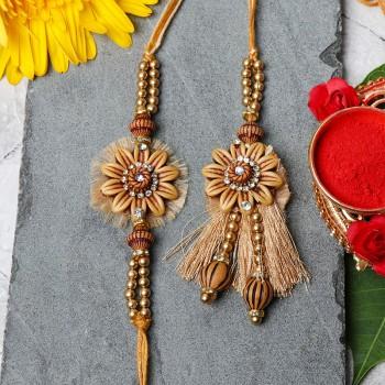 Golden Flower Bhaiya Bhabhi Rakhi