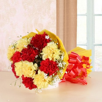 12 Red and Yellow Carnations in Yellow Paper