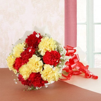 12 Red and Yellow Carnations in White Paper