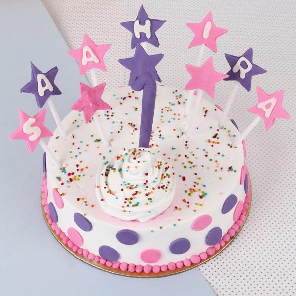 One Kg Fondant Vanilla Birthday Cake