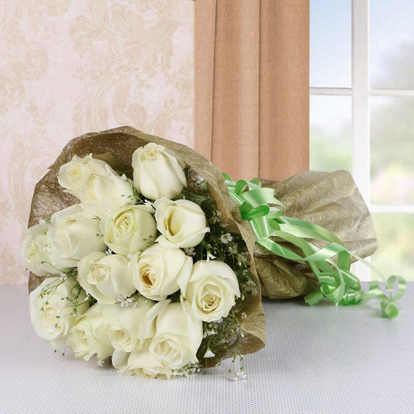 15 White Roses in Golden Crape and Green Bow