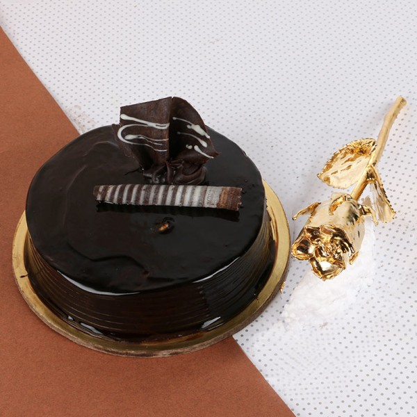 Truffle Cake (Half Kg) with Gold Rose (6 inches)
