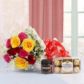 10 Assorted Roses in White Paper and Red Bow with 16 pcs Ferrero Rocher and Nescafe Coffee (25gms)