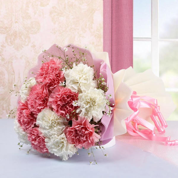 12 White and Pink Carnations in White and Pink Paper