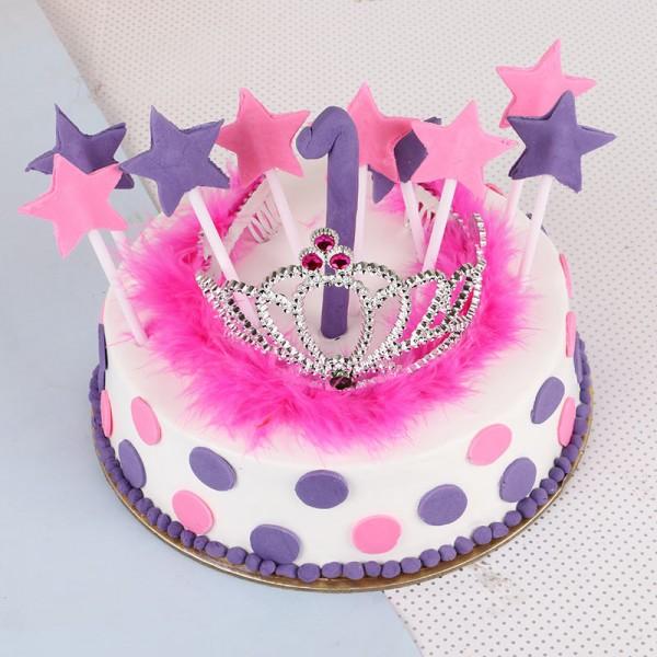 One Kg Fondant Birthday Vanilla Cake