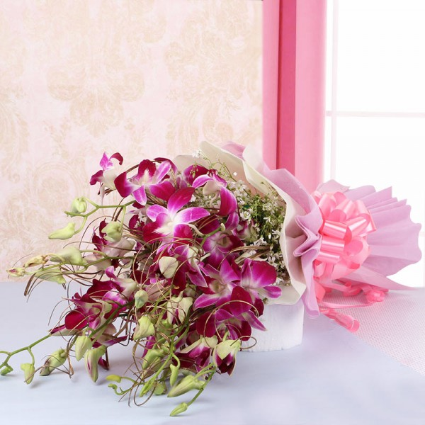 6 Purple Orchids in Pink and White Paper