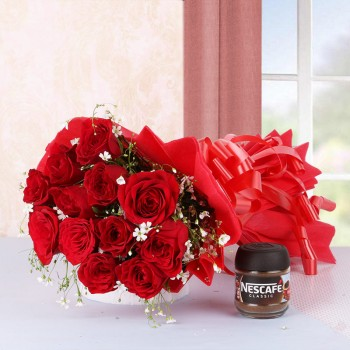 12 Red Roses in Red Paper with Nescafe Coffee (25gms)