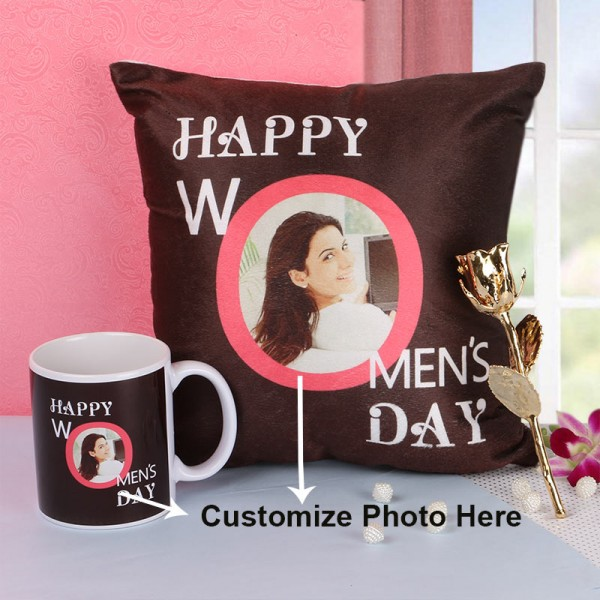 Womens Day Hamper of Personalised Mug and Cushion with Gold Rose