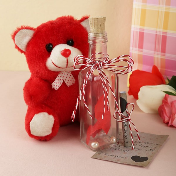 Message in a Bottle with Teddy Bear