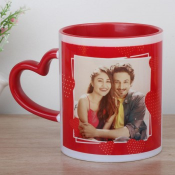 One Red Heart Handle Personalised Ceramic Mug