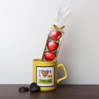 One I Love You Forever Printed Yellow Mug and 5 Heart Shape Assorted Chocolates
