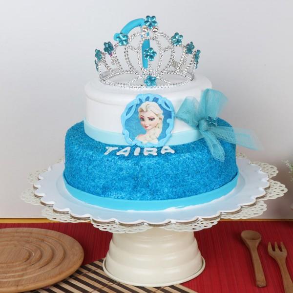 2 Kg 2 Tier Fondant Vanilla Frozen Theme Cake