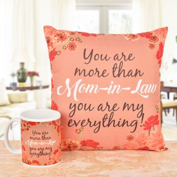 Printed Cushion and Coffee Mug for Mother in Law