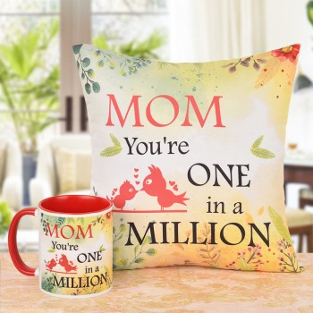 One In A Million Mom Printed Coffee Mug and Cushion Combo