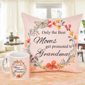 Printed Coffee Mug and Cushion for Grandmother
