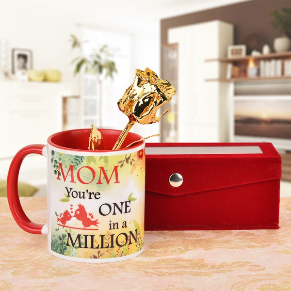 6 inches Gold rose with Coffee Mug for Mother