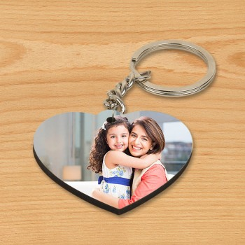One Personalised Heart Shape Wooden Keychain