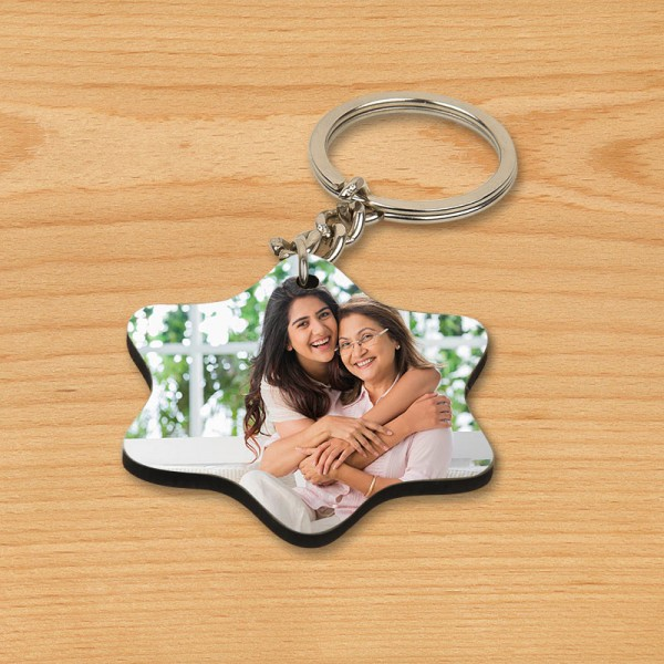 One Personalised Star Wooden Shape Keychain