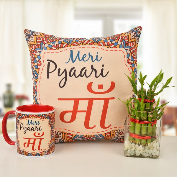 Meri Pyari Ma Printed Coffee Mug and Cushion Combo with two layer lucky bamboo