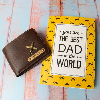 Personalised Brown Wallet and Greeting Card for Dad