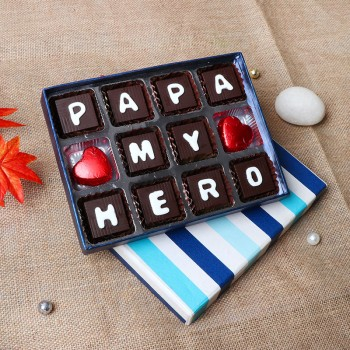 12 pcs Homemade Chocolate Box with Papa My Hero wriiten on it