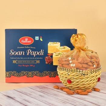 Soan Papdi with Dryfruit Potli
