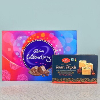 Pack of 250 gm Soan Papdi and Cadbury Celebrations Pack 141gm