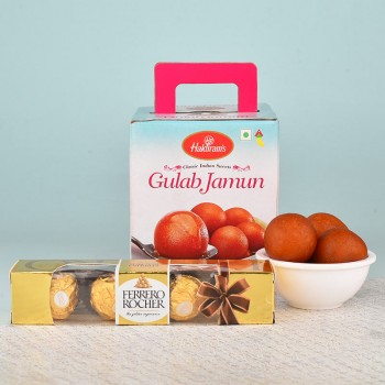 1 Kg Haldiram Gulab Jamun and 4 Pcs Ferrero Rocher Chocolates