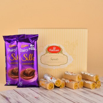 Pack of Kaju Roll (500 gms) and 2 Dairy Milk Silk Chocolates (60 gms)