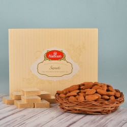 Kaju Katli N Almonds Basket