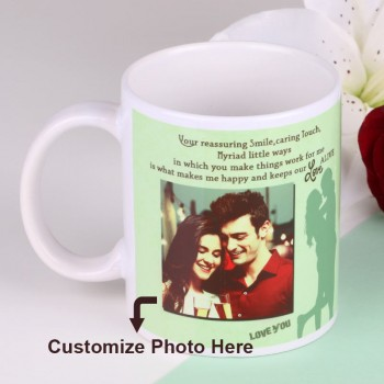 Personalised White Handle Coffee Mug